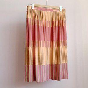 pure silk abstract stripe knee length skirt